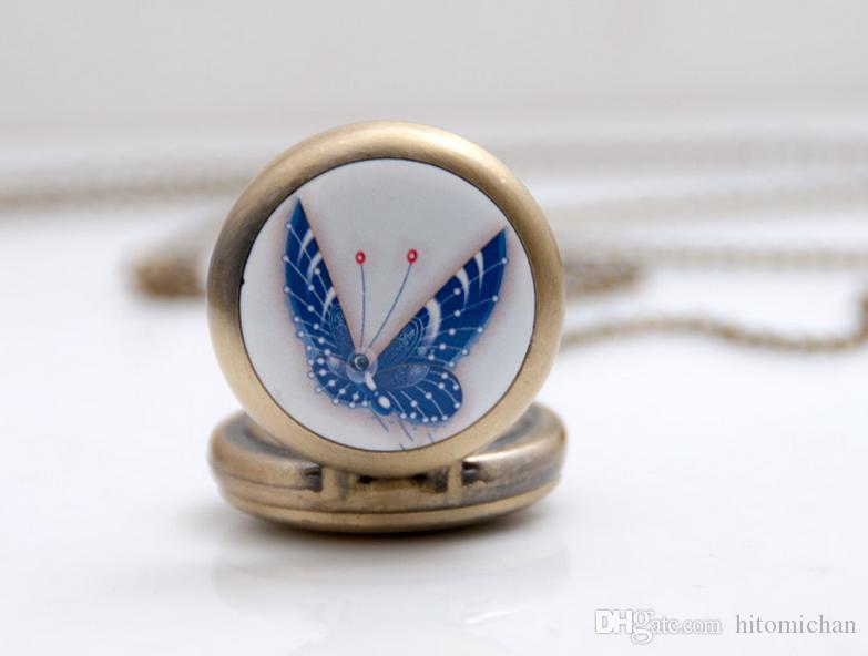 새로운 패션 청동 디자인 나비 에나멜 시계 한판 스웨터 체인 펜던트 목걸이 회중 시계