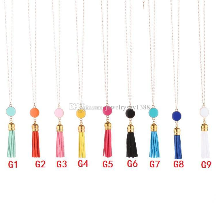 Personalized Initial Monogram Blanks Cabochon Acrylic Enamel Disc Leather Velvet Tassel Long Chain Pendant Necklaces for Women Jewelry