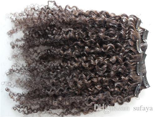 새로운 중국어 곱슬 머리 weft 클립 변태 컬 곱슬이 처리되지 않은 자연의 검은 색 어두운 갈색 색상 인간의 확장 중국 머리카락