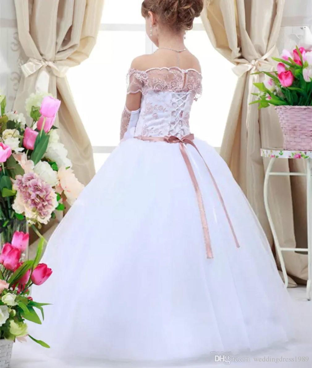2018 Nueva princesa Little Girls Pageant Vestidos vestido de bola de tul blanco vestido de las niñas de flores para la boda bordado vestidos de fiesta baratos CS021