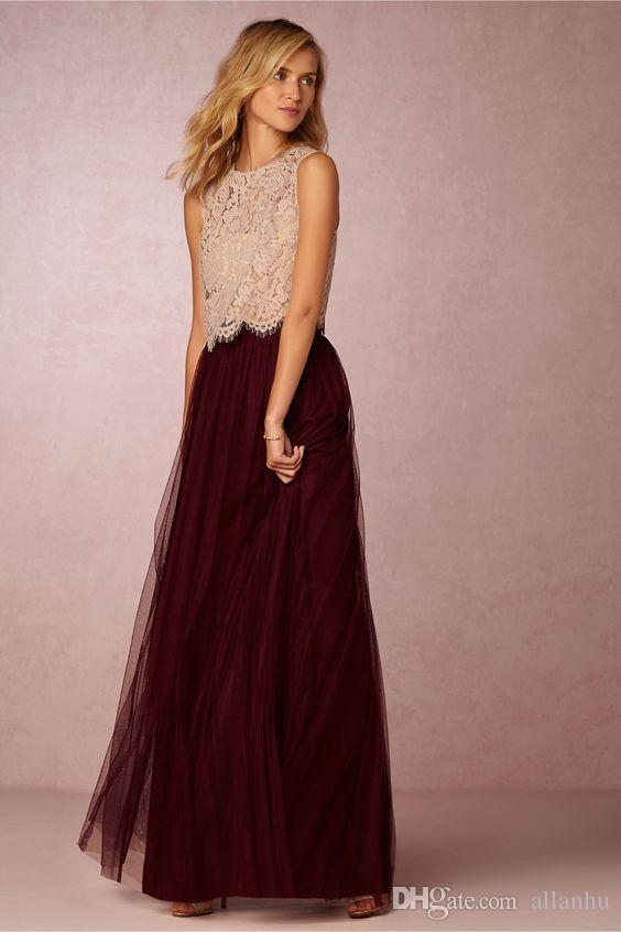 2017 Nuevas tendencias Dos piezas Vestidos de dama de honor Blusa de encaje Falda de tul Borgoña Gris Menta Cuello redondo transparente Longitud total Vestidos de baile elegantes