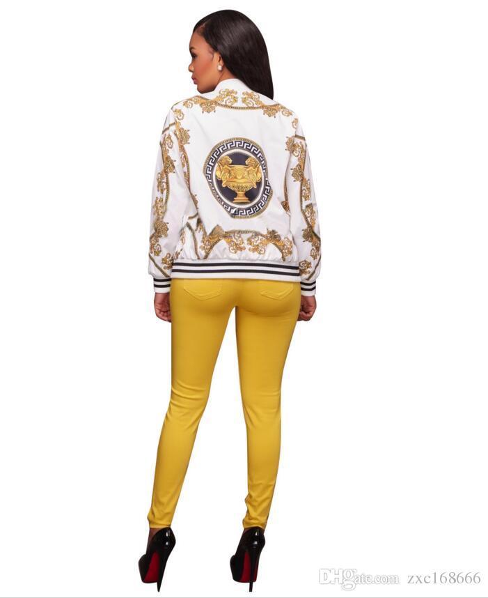 Las mujeres se visten de moda las señoras Retro cremallera floral hasta la chaqueta de bombardero abrigo de béisbol informal Otoño Tops outwear ropa de mujer