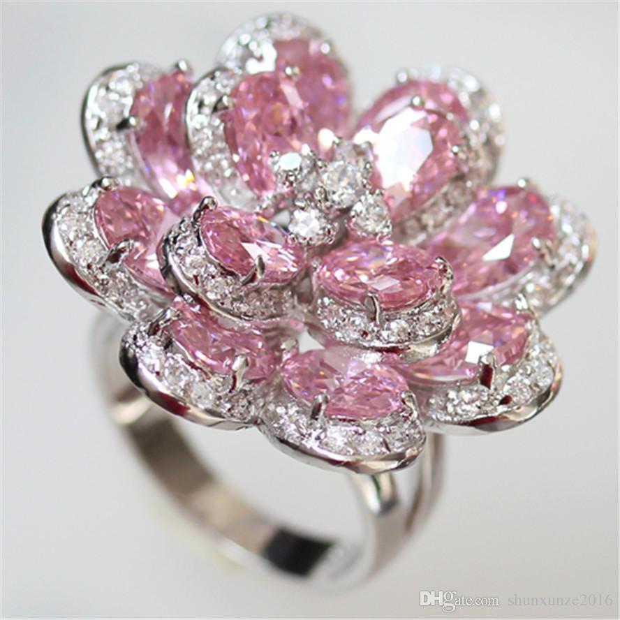 Neuheiten Edler großzügiger Charme MN549 sz # 6 7 8 9 Schöne rosa Zirkonia Romantisches Kupfer Rhodium plattiert für Frauen Ringe Best Sellers