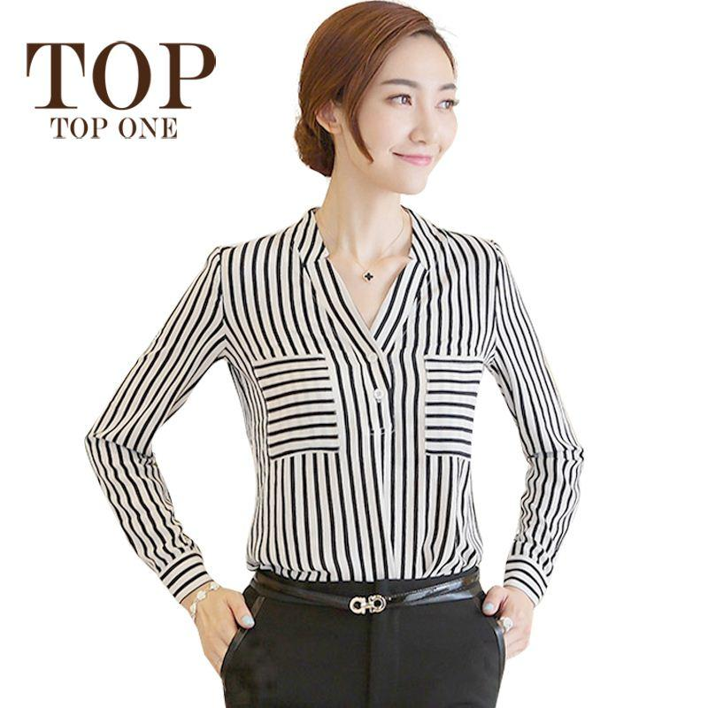 2017 Women Chiffon Blouse Long Sleeve Black And White Striped ...