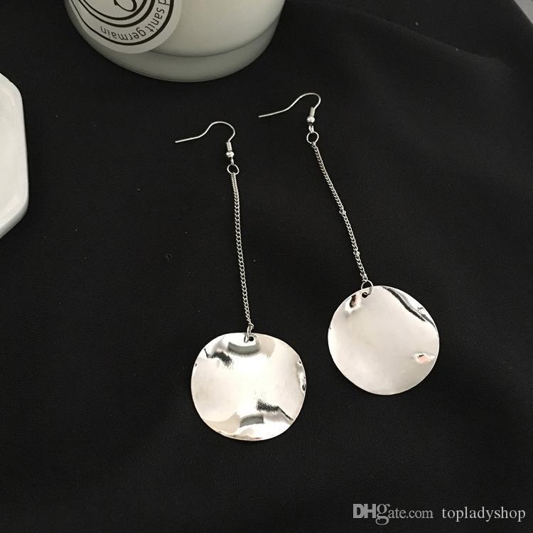 Преувеличенные простой металл нерегулярные нерегулярные выпуклые круглые серьги Серьги Оптовая бесплатная доставка