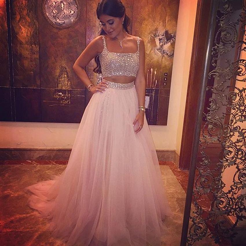 Elegante tweedelige kristallen top tule rok prom jurken 2016 robe de soiree arabische vrouwen mode avond feestjurk vierkante halslijn