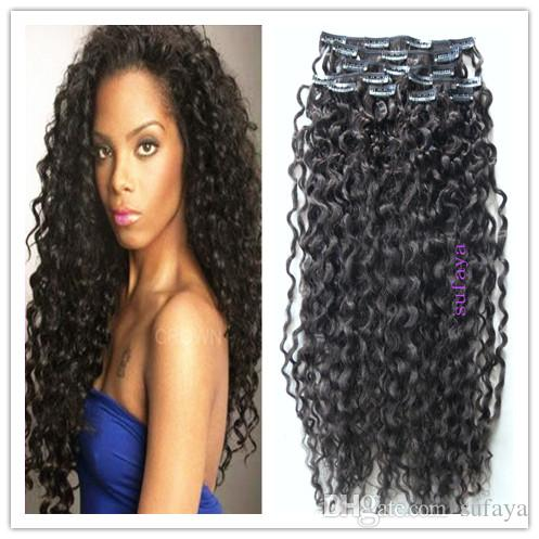 New Style Mongolian Human Curly Hair Weft Clip in Hair Extensions ...