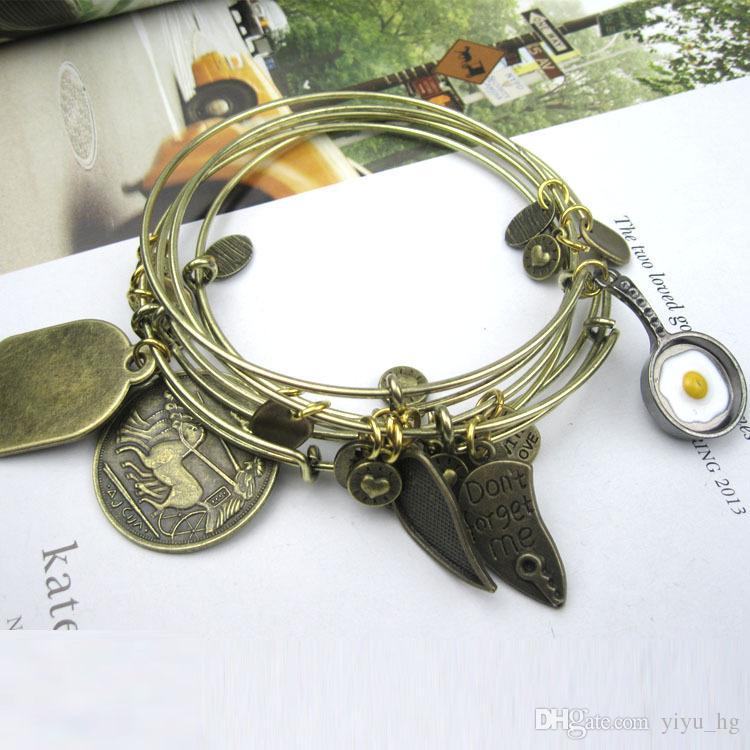 2015 Nouveau 70mm Diamètre Argent Plaqué Or Antique Bronze Bracelets De Câblage Simple pour Perles ou Charmes Extensible Bracelets
