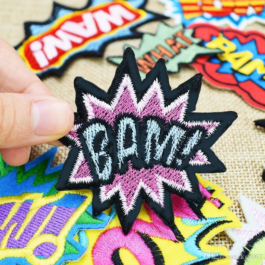 10 pz / set slang badge ricamato patch abbigliamento ferro sul trasferimento applique patch borse jeans fai da te cucire su ricamo adesivo