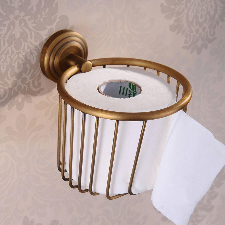 wall mounted antique brass finish bathroom accessories toilet paper holder bathroom sets toilet roll holder sanitary hj 1207af