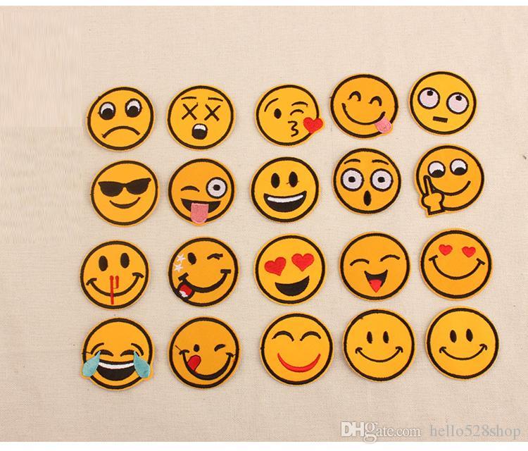 Komik Sevimli Gülümseme Emoji İfade Gülümseme Yama Delik Çıkartmaları Bez Çocuk Yamalar İfade Dikmek Giysi üzerinde Demir Pantolon Pantolon Kap ...