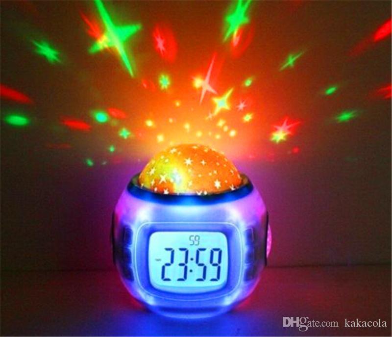 Projetor colorido da projeção do céu estrelado da música da música com o Natal do termômetro do calendário do despertador