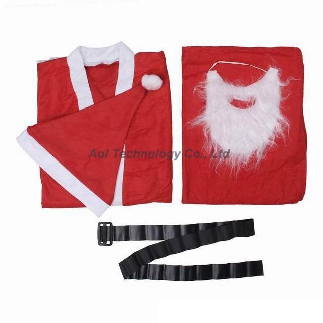 New Arrival Men 160-180cm sets of Christmas Santa Claus Suit costume party performance apparel Christmas Clothes Sets nonwoven