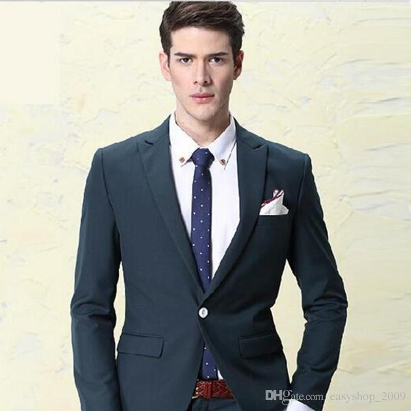 Men of high quality fashion 2017 men's suit jacket + pants + vest male and TV host wedding dress dark green summer Slim Fit bone