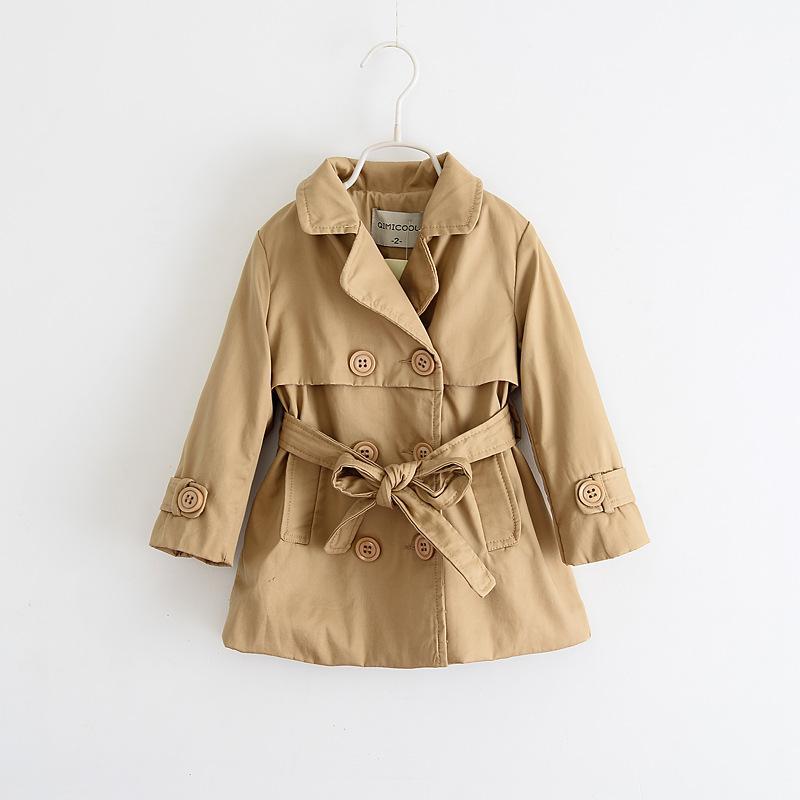5a3fa2a21 ... 2015 wind coat girls fleece lined parka Double line button with belt  dust long sleeve coat ...