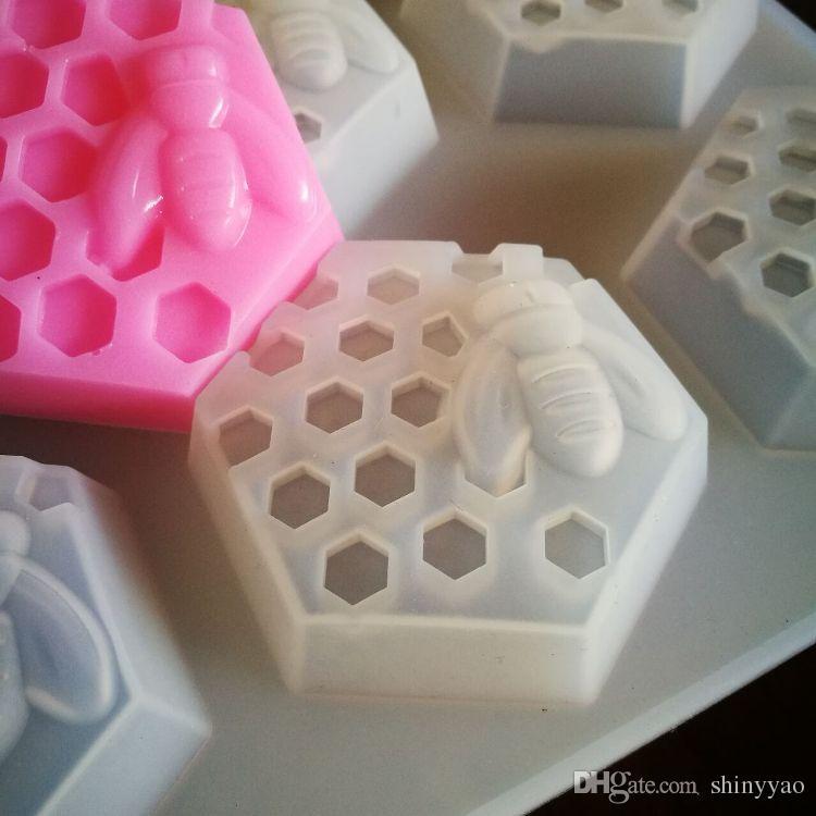 6 cubo de favo de mel de silicone moldes de sabão fondant molde do bolo de chocolate argila de resina moldes de vela diy ferramentas de cozimento do bolo de cozinha