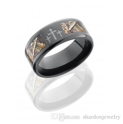 Camo Cross Ring Titanium Black Zirconium CNC 3 crosses Realtree AP Camo  Ring wedding band Men jewelry lover rings anel anillos Size 8 13Camo Cross Ring Titanium Black Zirconium Cnc 3 Crosses Realtree Ap  . Mens Cross Wedding Band. Home Design Ideas
