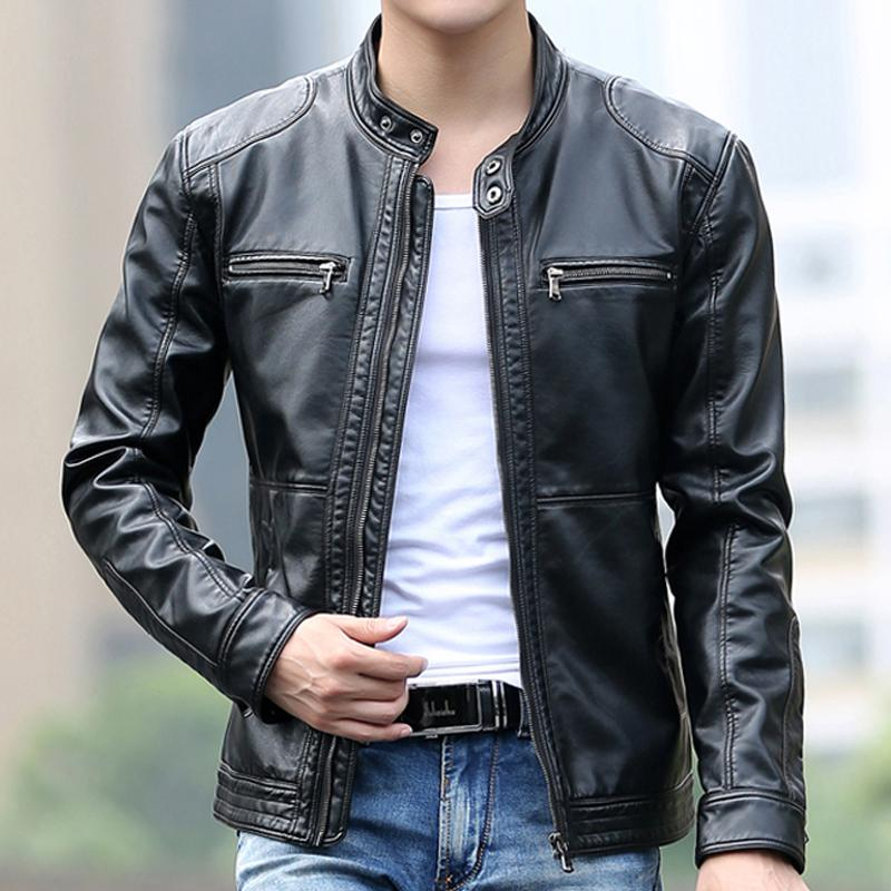 c6a06eadcb9e4 2019 Wholesale High Quality New Fashion Spring Leather Jackets Men ...