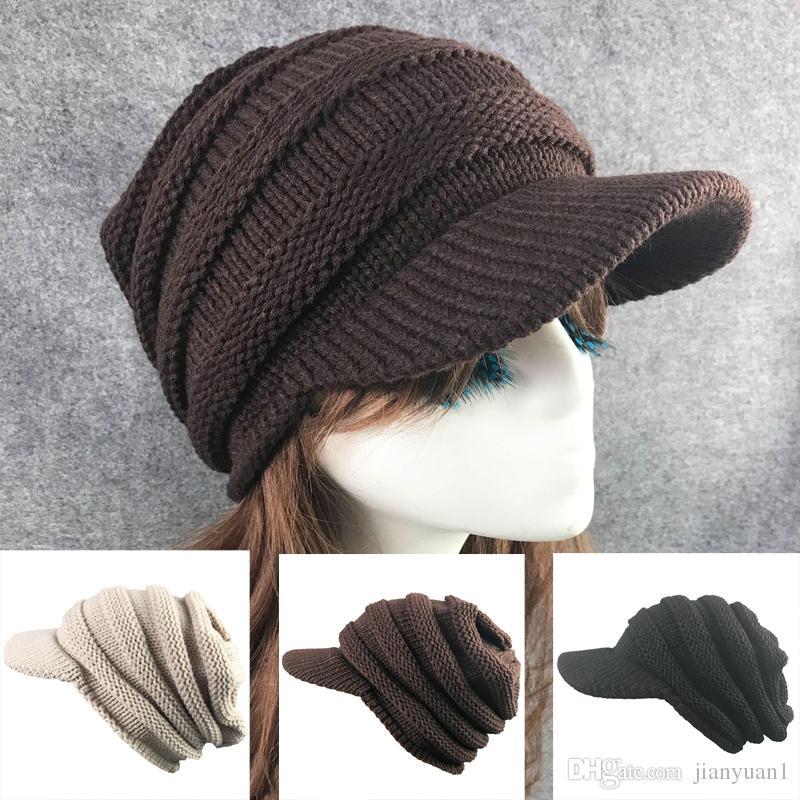 d5570ad4eb58a 2019 Casual Hat Women Winter Warm Knit Hat Rabit Fur Snow Ski Brim Caps  With Visor Berets From Jianyuan1