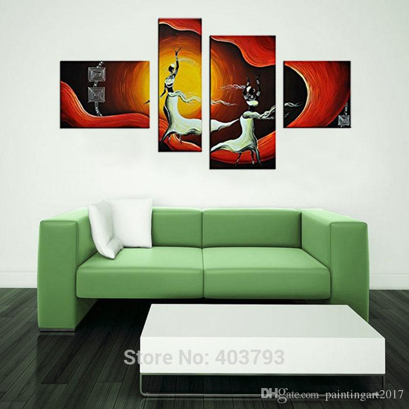 4 Panel African Pictures Canvas Wall Art Modern Abstract Landscape Oil Painting African Dancers Figure Art Painting Hand Painted