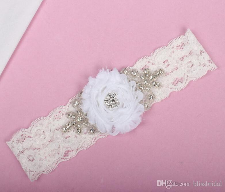 White Lace Stretchy Crystal Beaded Wedding Bridal Carters Belt With Hand Made Flower Sexy