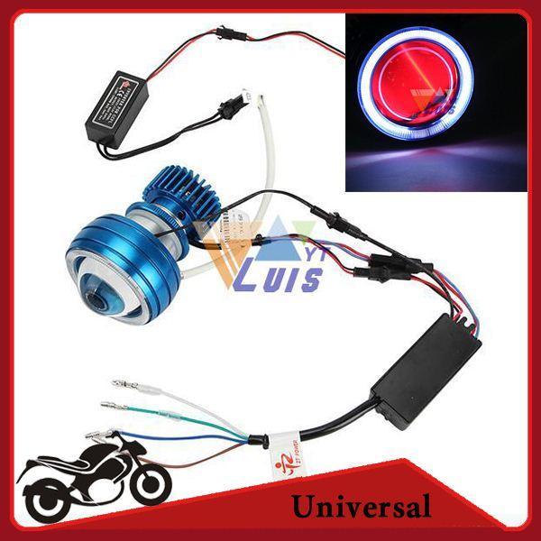 motorcycle led projector headlight hi lo lamp white angel eye red devil eye  2200lm for sport bike dirt bike chopper cruiser order≪$18no trac led work