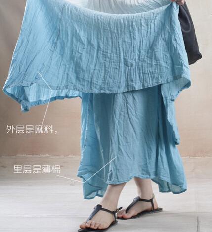Mulheres Estilo Verão Assimétrico Maxi Vestido de 2015 Novas Mulheres Da Moda O-pescoço Gradiente Cor Linho de Algodão Solto Irregular Hem Vestido Ocasional, D121
