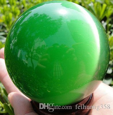 New green ball QUARTZ CAT EYE CRYSTAL BALL SPHERE 40MM + STAND