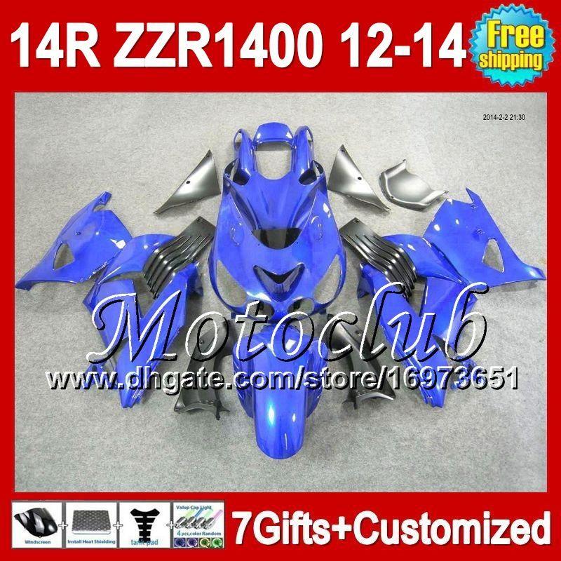 7gifts For KAWASAKI 12 13 12 13 NINJA all blue ZZR1400 12-13 2C5128 ZX14R ZZR-1400 2012 2013 2012 2013 ZZR 1400 Fairing ALL glossy blue