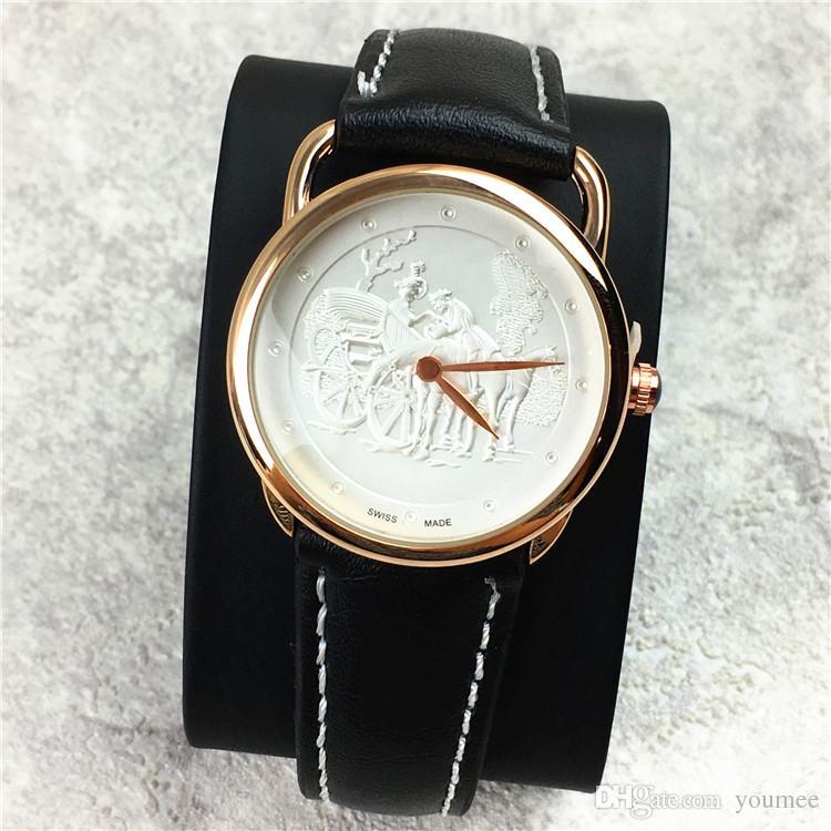 클래식 패션 여성 / 남성 시계 애호가 시계 정품 가죽 남성 시계 큰 다이얼 40mm 유명 디자이너 DHL 무료 고급