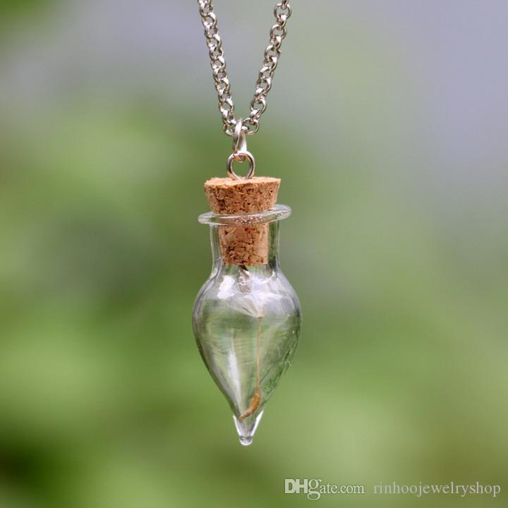 Wholesale DIY Glass Wish Bottle Necklace , Real Dandelion Seeds,Water Drop  Bottle Irish Botanical Pendant ,Real Dandelion Necklace Diamond Pendant