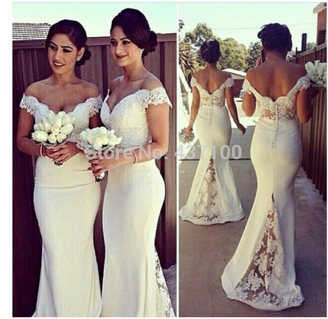 2b8a174e20 Plus Size Lace Bridesmaid Dresses 2018 Long Off The Shoulder Vintage With  Short Sleeves Wedding Party Dresses Mermaid Cream Bridesmaid Gown Grey  Bridesmaid ...