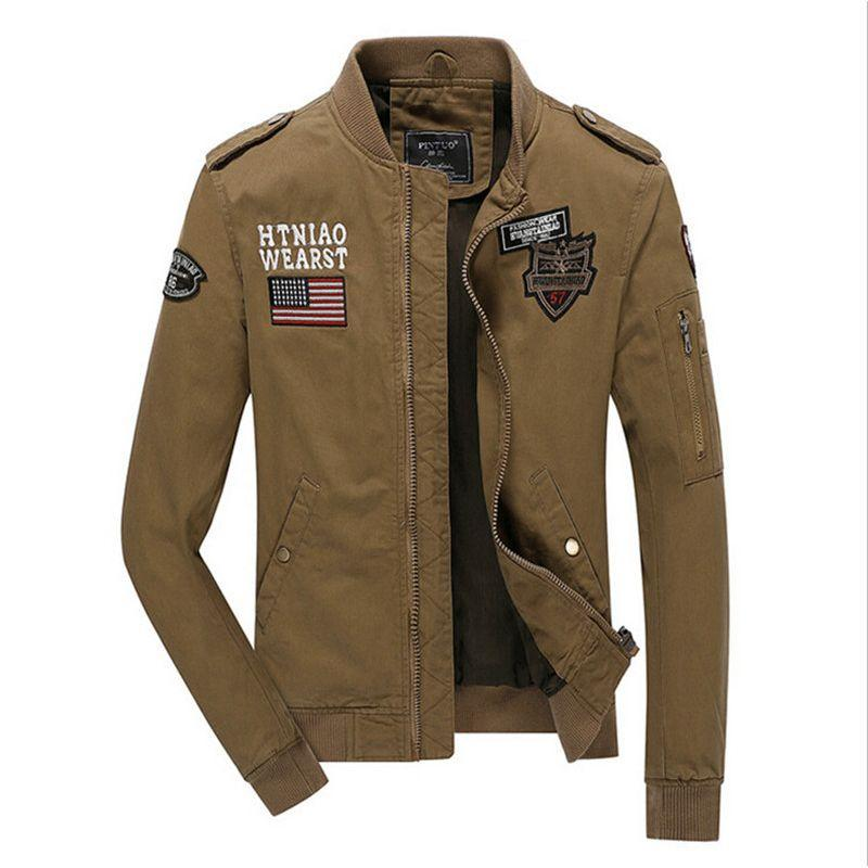 Mens Bomber Jacket Us Air Force Military Style Khaki Black Army ...