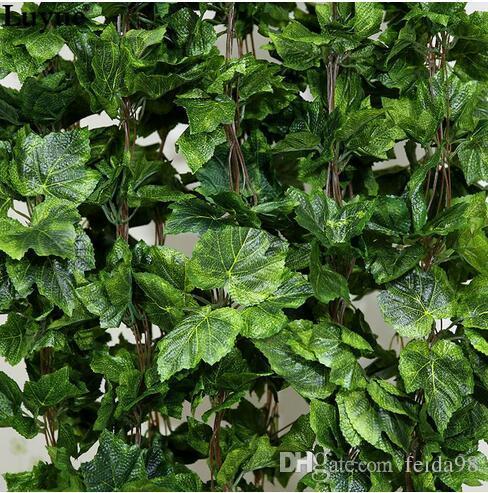 30 UNIDS como verdadero artificial de seda guirnalda de hojas de uva falsa vid hiedra interior / exterior decoración del hogar flor de la boda verde regalo de navidad