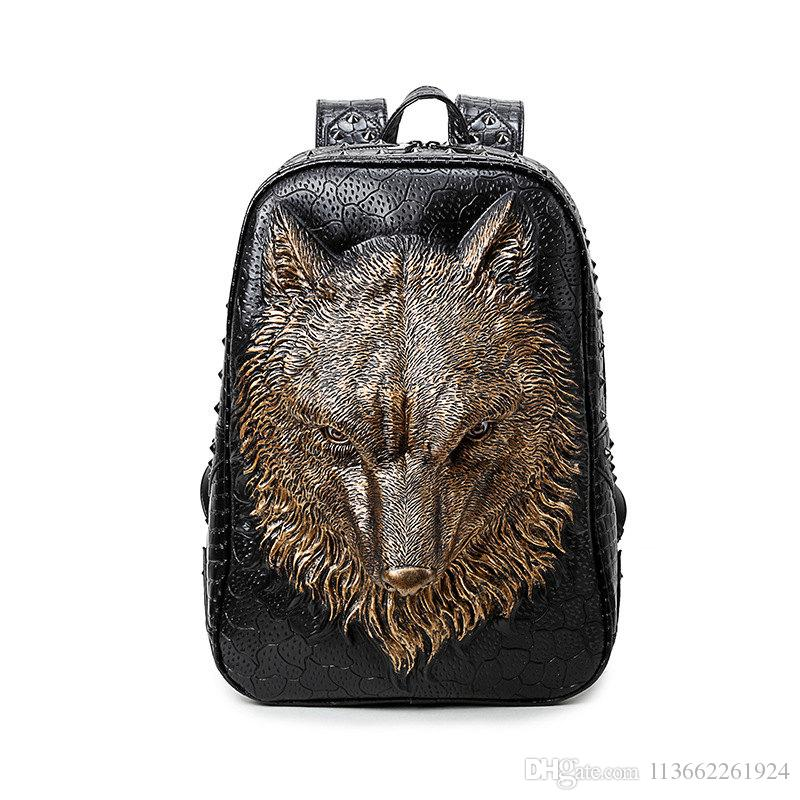 Creative 3D Personality Wolf Hip Hop Cool Leather Backpacks For Teenage  Guys Girly Backpacks For High School Hydration Backpack Womens Backpacks  From ... 848e3555c0dc