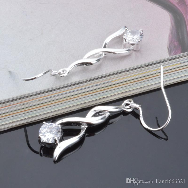 Moda ładna eksplozja modele w Europie i Ameryce Moda Shine Twisted with Diamond 925 Srebrne kolczyki Srebrne Kolczyki 1209