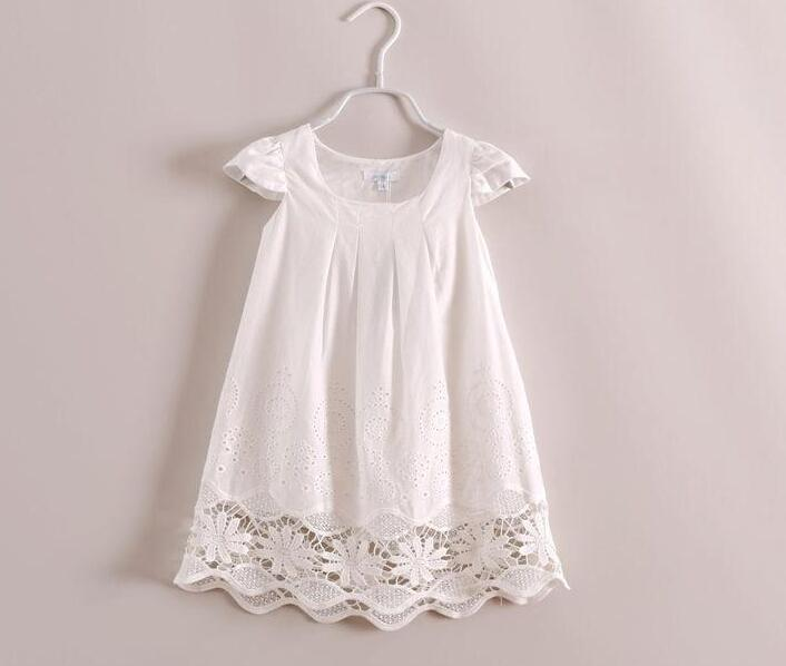 ebee1391bca 2015 Baby Girls Crochet Lace Dresses Kids Girl Floral White Cotton Princess  Dresses Hallow out Dress Babies Clothes Online with  79.79 Piece on ...