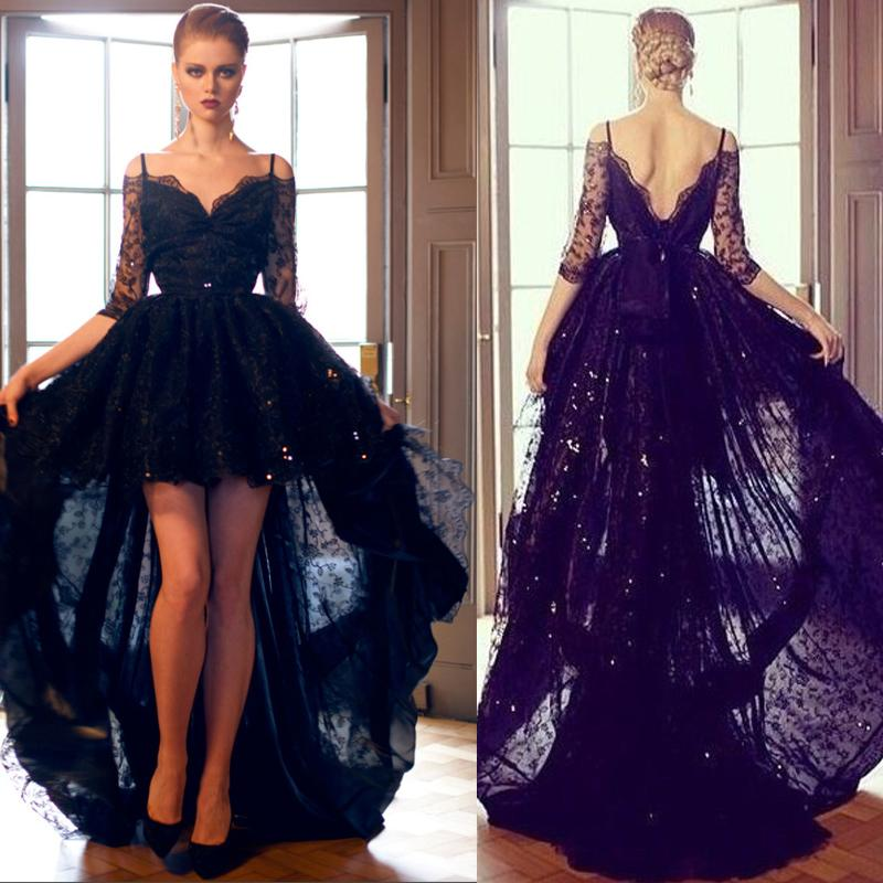 Sexy Black Lace High Low Prom Dresses 2015 Spaghetti Straps Off ...
