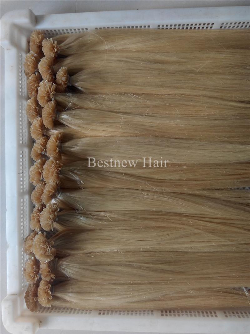 "100g Brazilian Indian Remy Nail U tip hair extensions 1g/s 16"" 18"" 20"" 22"" 24"" 613# Bleach Blonde Nail Tips Hair Sets"