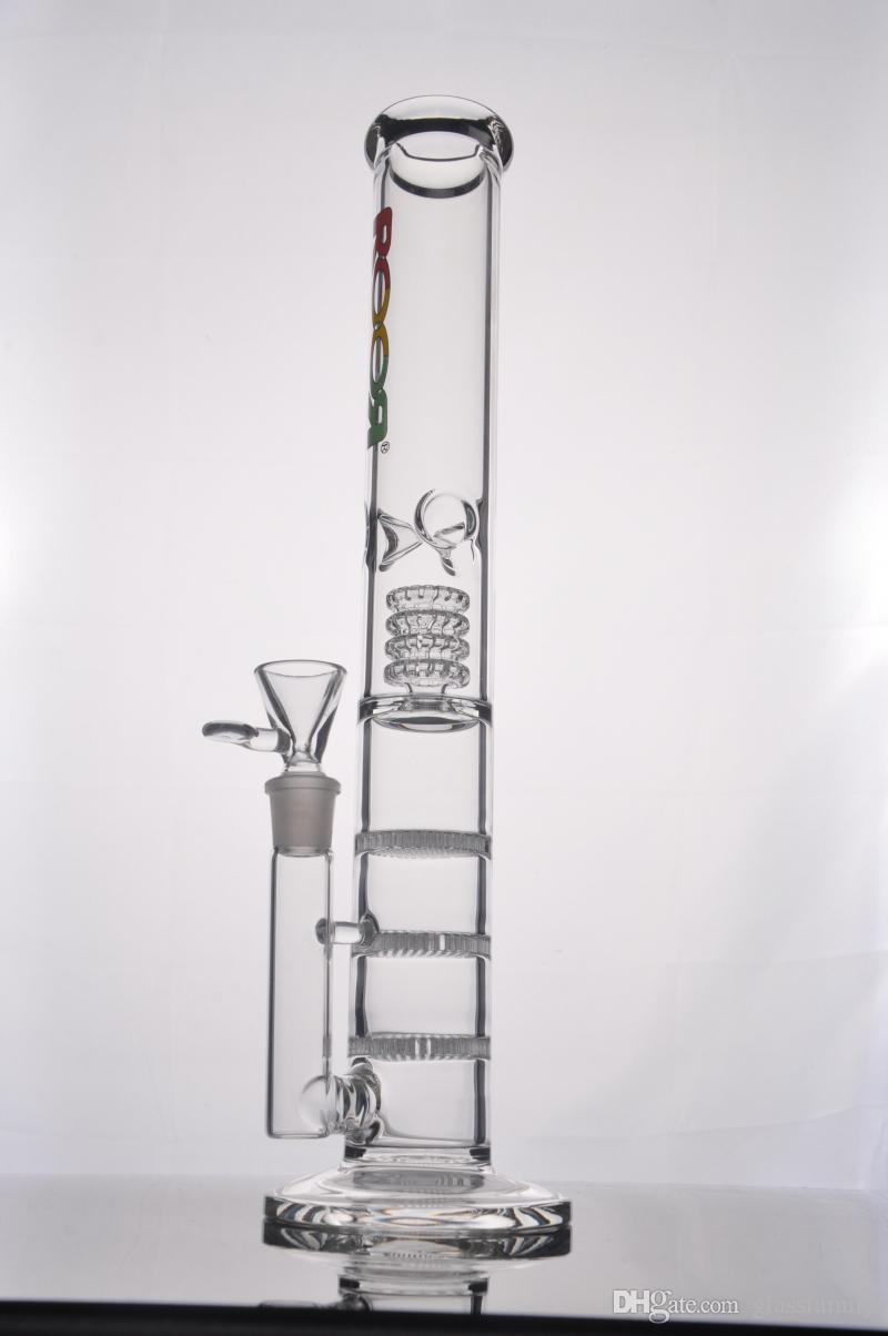 New Glass water pipe Straight glass BONG water pipe with 3 Honeycomb Percolator 18.8 Joint 44.5cm hight