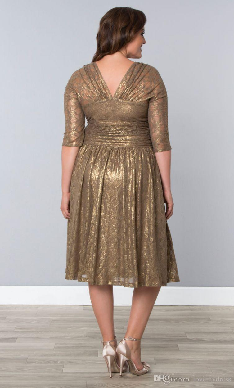 Cheap Gold Lace Plus Size Special Occasion Dresses Sheer Sleeves Tea Length Elegant Shining Champagne Prom Evening Gowns With V-Neck