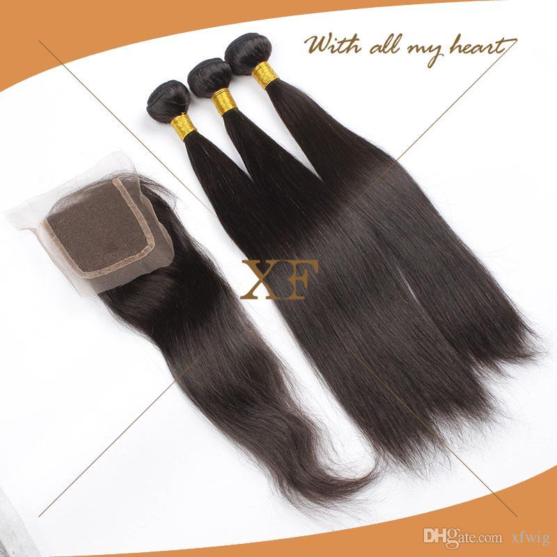 3 + 1 Gerade Haarspitzenabschluss Mit Bündeln Brasilianisches Reines Menschenhaar Gerade Brasilianisches Reines Haar Mit Verschluss