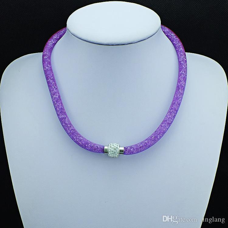 믹스 판매 성명 목걸이 크리스탈 인피니티 화이트 라인 스톤 마그네틱 걸쇠 초커 목걸이 여성 쥬얼리에 대한