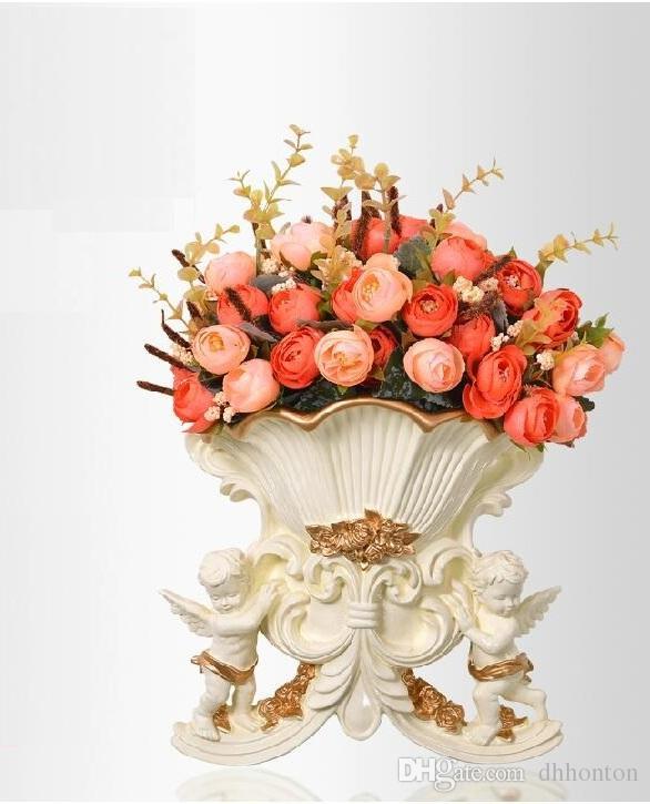 Avrupacılığın çevre-koruyucu reçine melek duvara monte çiçek vazo altın kenar ile yapay çiçekler üç dal şube-in sale2015