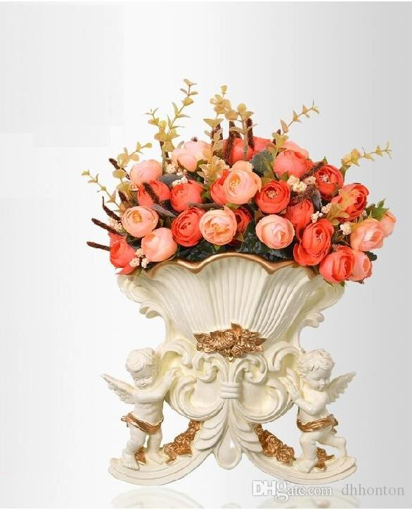Europeanism environment-protective resin angel wall-mounted flower vase with golden edge three branch of artificial flowers tie-in sale2015