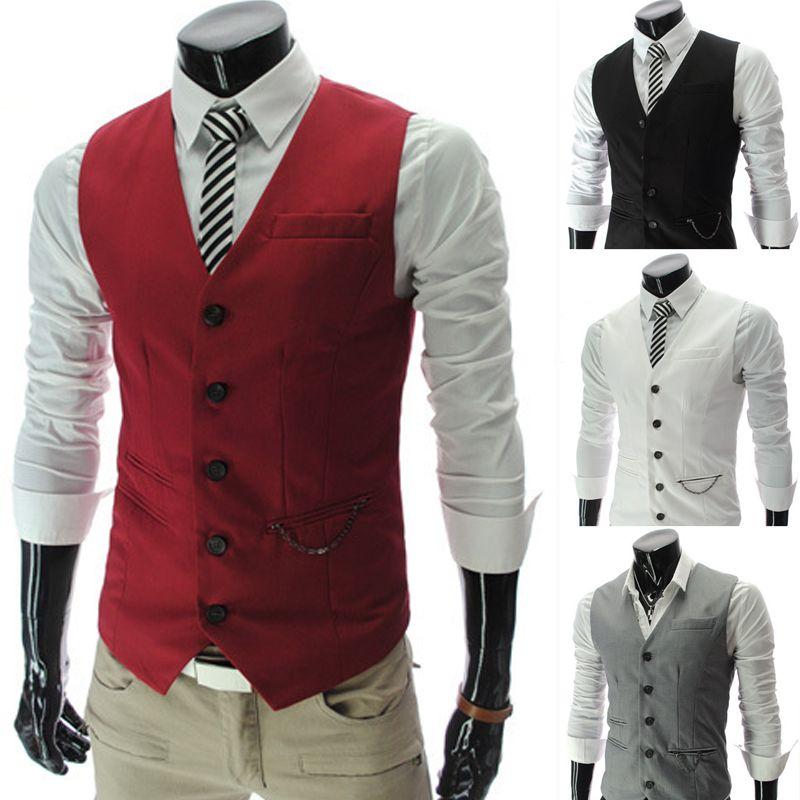 2018 2016 Men Vests Outerwear Mens Vest Man Casual Suits Slim Fit ...