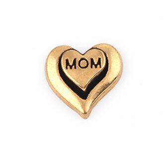 20 Adet / grup Altın Renk Anne Mektup DIY Kalp Yüzen Madalyon Takılar Cam Yaşam Için Fit Manyetik Madalyon