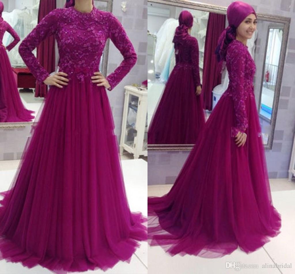 Abiti lunghi da sera in pizzo viola con maniche lunghe in stile musulmano con collo alto Robe De Soiree Abiti eleganti da ballo 2016 design
