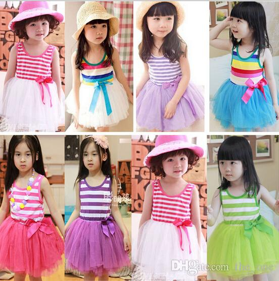 2018 Girl Lace Striped Tutu Dress Baby Girl Sundress Rainbow Striped Tutu Dress Princess Dress Bow Girl Lace Purple Green Pink Blue From The_one