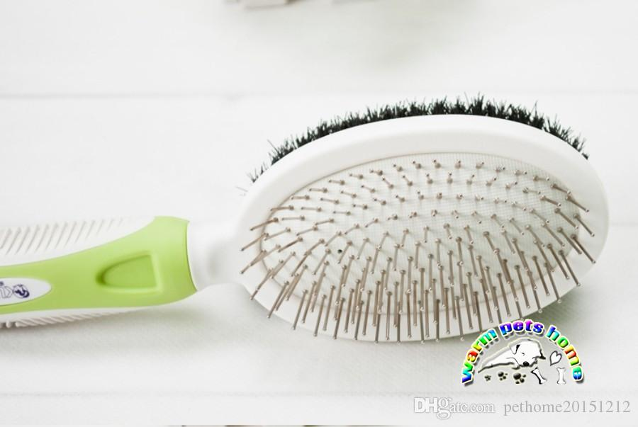 Dog grooming brushes green wire hair brush slicker brush for dogs dog shedding brush both sides can be used dog grooming supplies CM905
